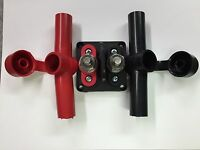 """Red & Black Junction Block Power Post KIT Insulated Terminal Stud 3/8"""" Stainless"""