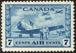 1943 CANADA HARVARD TRAINERS 7¢ AIR POST STAMP, MINT LIGHTLY HINGED MLH Scott C8