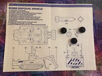 GI Joe Vehicle Bomb Disposal Unit BLUEPRINTS + THREE MINES 1985 Original Part
