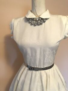 1950s Fit and Flare ROCKABILLY WEDDING Ivory w rose jacquard dance dress  SMALL