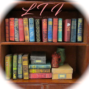 1:24 Scale 21 DUSTY OLD BOOKS Miniature Books Prop Faux Books Fill a Bookshelf