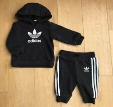 ADIDAS ORIGINALS * BABY BOYS Full TRACKSUIT Hooded Sweatshirt JOGGERS 0-3 MONTHS