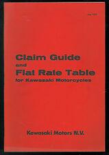Guide de Réclamations & Garantie KAWASAKI 1972 Barème main d'œuvre Manuel Manual