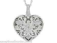 BIG ROUND GENUINE DIAMOND STAR HEART NECKLACE 18 INCH + GIFT!