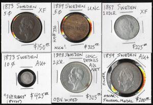 5 SWEDISH COINS & 1 MEDAL 1857-1898 (EXCLNT LOT) CV $1650 USD !!! NO RESERVE