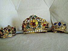 19thC MADONNA Jeweled Crowns Gilded Relics Virgin Mary (Three Crowns)