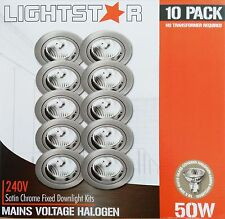 10 Pack x Satin Chrome Fixed Downlight Kits 240V 50W GU10 Halogen Dimmable 70mm