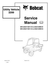 Bobcat 2200 Utility Vehicle Repair Service Manual New 2009 Edition 6903129