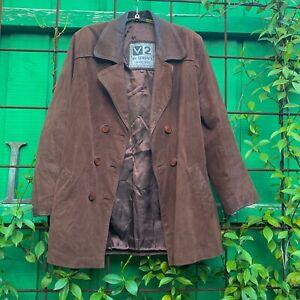 Vintage Versace V2 brown suede leather jacket 90s