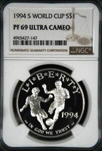 1994-S WORLD CUP SILVER PROOF DOLLAR S$1 NGC PF69 ULTRA CAMEO