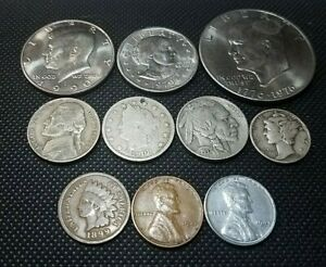 Coin Lot Starter Set 10 Coins, IKE, JFK, Old Cents, Mercury, Buffalo, Silver, +