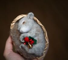 OOAK Needle Felted Miniature realistic squirrel Christmas handmade gift