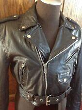 Vtg Womens Buffalo Short Belted Black Leather Punk Biker Motorcycle Jacket ~ XXL