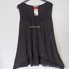 MAGNA Lagenlook Tunika Shirt Spitze + Patch A-Linie schwarz 48-50 (4)