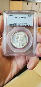 1938 P Walking Liberty Half Dollar PCGS MS65 (Slab484)