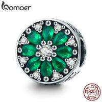 Bamoer European 925 Sterling Silver charm With Green Zircon Fit Bracelet Jewelry