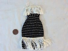 Vtg Clone Barbie Black & Silver Striped Evening Dress White Tassels Doll Clothes