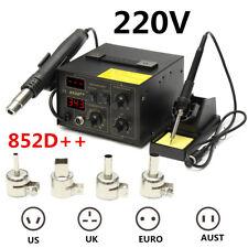220V 852D++ LED Display 2 In 1  Soldering Rework Station Hot Air Gun + 4Nozzles