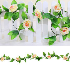 2x8ft Artificial Silk Rose Flower Ivy Vine Leaf Garland Wedding Party Garlands Champagne