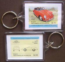 1960 PORSCHE 356 / 356B Cabriolet Car Stamp Keyring (Auto 100 Automobile)