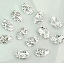 Decoration  10 x 3D Silver Skull Alloy Rhinestone Crystal Nail Art Tips Stickers