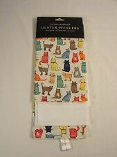 2 Ulster Weavers Kitchen Dish Towels Cats Arrived & White Waffle Weave NEW