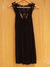 Vestido corto Topshop Crochet Negro Encaje/largo espalda superior tamaño de Reino Unido 6 * Totalmente NUEVO *