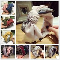 Women Bowknot Headband SoildColor Hairband Wide Cloth Head Hoop Hair Accessories