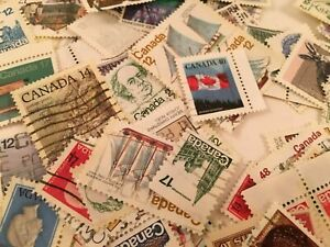 500 USED CANADA STAMPS CANCELLED-RANDOM PICK STAMPS-FREE SHIP-(ON AND OFF PAPER)