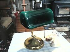 Antique Verdelite Bankers, Library, Piano Lamp, Art Deco Glass Shade Signed 1917
