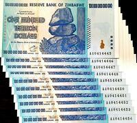 DEALER'S LOT, 10X NOTES - ZIMBABWE 100 TRILLION DOLLARS AA 2008 SERIES UNC P91