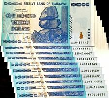 DEALER'S LOT, 10X NOTES - ZIMBABWE 100 TRILLION DOLLARS AA 2008 SERIES UNC P91