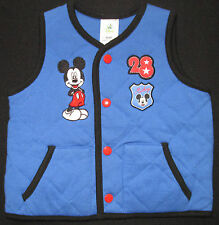 Baby Boys Vest Jacket Sleeveless Coat Top Mickey Mouse Disney Blue Warm 00 NEW
