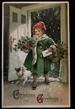 Christmas~Child with Baskets of Holly~Dog~ Max Feinberg~Antique Postcard-s958