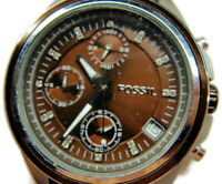 Fossil Decker Brown Chronograph Date Glo WR 10 atm New Battery Woman Watch