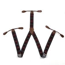 Red Black Lattices Men's Suspenders Braces Adjustable Leather Button Holes BD771