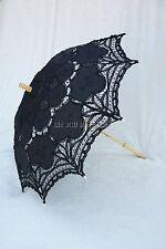 Black Battenburg Lace Victorian Edwardian Downton Abbey style Parasol