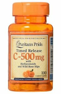 Puritan's Pride Vitamin C-500 mg with Rose Hips 100 Caplets FREE SHIPPING