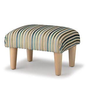Biagi Upholstery & Design Teal Green Striped Chenille Velvet Footstool