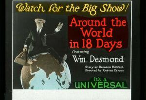 AROUND THE WORLD IN 18 DAYS Vintage 1923 UNIVERSAL Silent Film Movie Glass Slide