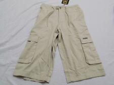 New Vtg Dr Doc Martens Shorts Cargo Pockets Khaki Drawstring Junior 1 28X16 FLAW