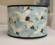 Handmade Lampshade Japanese Oriental Cranes Fabric Sky Duck Egg Blue Gold Trim