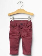 GAP Baby Boy Size 0-3 Months NWT Dark Red Denim Straight Jeans Pull-On Pants