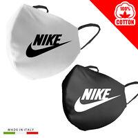 Mascherina Mascherine Nike Personalizzata 100%Cotone Made in Italy adultobambino