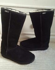 EMU Women's Black Suede Leather Tall Boots, Women's size 7/Men's size 6