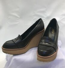 107160b27 New ListingSaint Laurent Platform Wedge Penny Loafer 40 Army Brown Green  Gum Sole 9 9.5 YSL