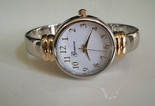 GOLD & SILVER FINISH GENEVA DESIGNER STYLE WOMEN'S BANGLE CUFF WATCH