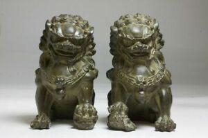 "6"" Antique Fengshui Bronze Guardian Fu Foo Dogs Lion Door Leo Statue Lions Pair"