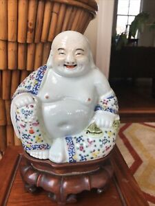 ANTIQUE SIGNED CHINESE 7.5 Tall BUDDHA PORCELAIN ZHU MAO JI PERIOD FAMILLE ROSE