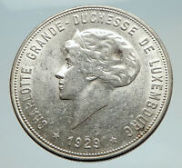 1929 LUXEMBOURG w Grand Dutchess Charlotte Antique Silver 10 Francs Coin i74758